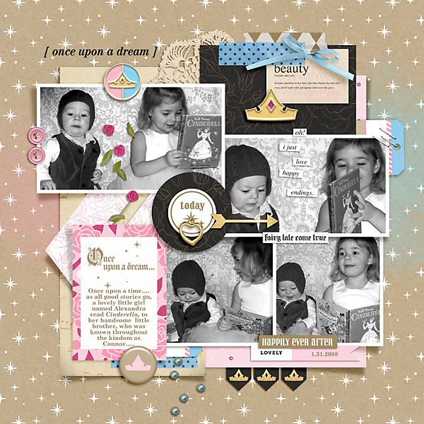Fairytales Do Come True digital scrapbook layout using Project Mouse (Princess) Aurora | Kit & Journal Cards by Britt-ish Designs and Sahlin Studio