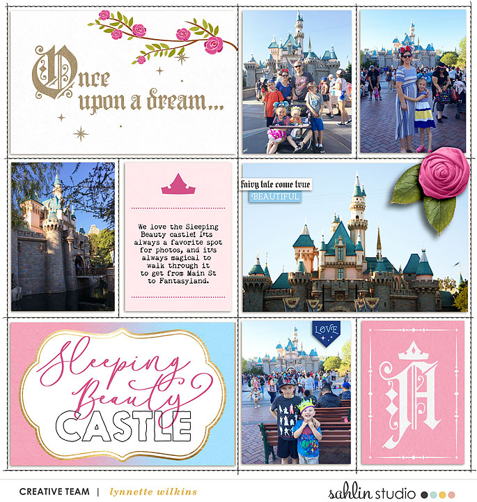 Sleeping Beauty Castle Disneyland Princess digital Project Life scrapbook layout using Project Mouse (Princess) Aurora | Kit & Journal Cards by Britt-ish Designs and Sahlin Studio