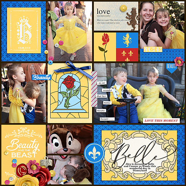 Meeting Disney Belle Beauty and the Beast Princess digital Project Life scrapbook layout using Project Mouse (Princess) Aurora | Kit & Journal Cards by Britt-ish Designs and Sahlin Studio