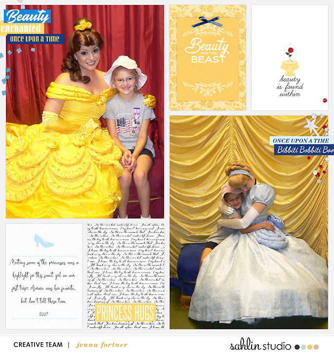 Meeting Disney Belle Beauty and the Beast & Cinderella Princess digital Project Life scrapbook layout using Project Mouse (Princess) Aurora | Kit & Journal Cards by Britt-ish Designs and Sahlin Studio