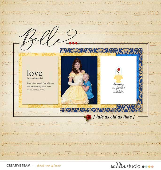 Meeting Disney Belle Beauty and the Beast Princess digital scrapbook layout using Project Mouse (Princess) Aurora | Kit & Journal Cards by Britt-ish Designs and Sahlin Studio