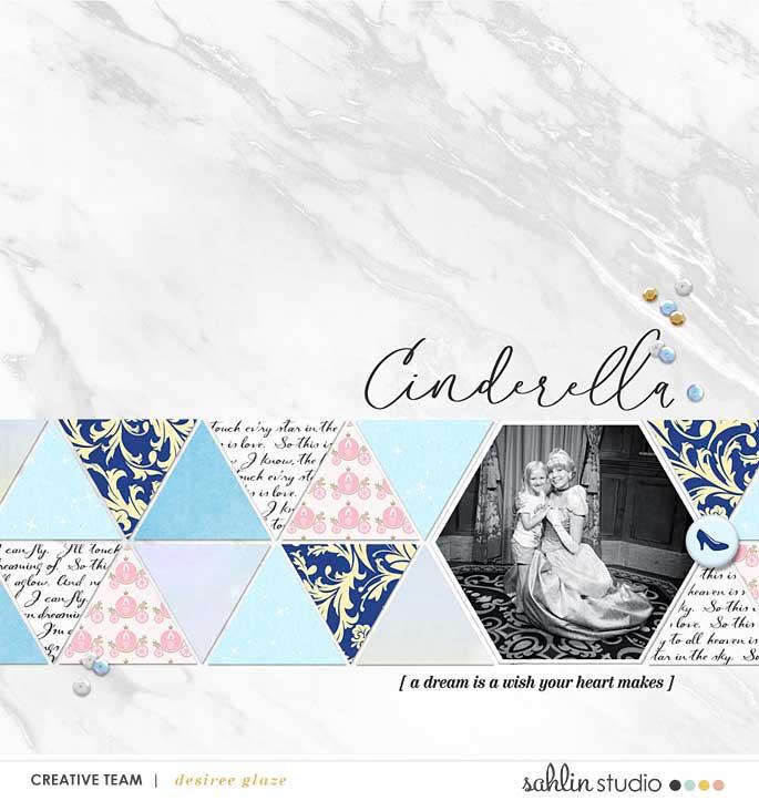 Meeting Disney Cinderella Princess digital scrapbook layout using Project Mouse (Princess) Cinderella | Kit & Journal Cards by Britt-ish Designs and Sahlin Studio