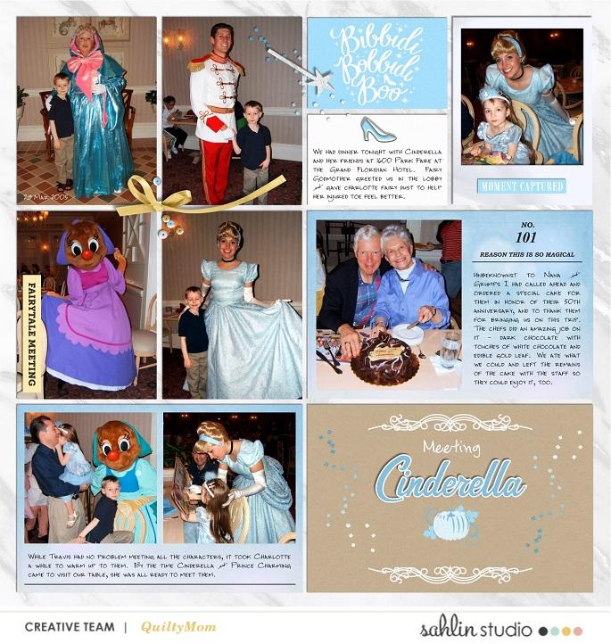 Meeting Disney Cinderella Princess digital Project Life scrapbook layout using Project Mouse (Princess) Cinderella | Kit & Journal Cards by Britt-ish Designs and Sahlin Studio