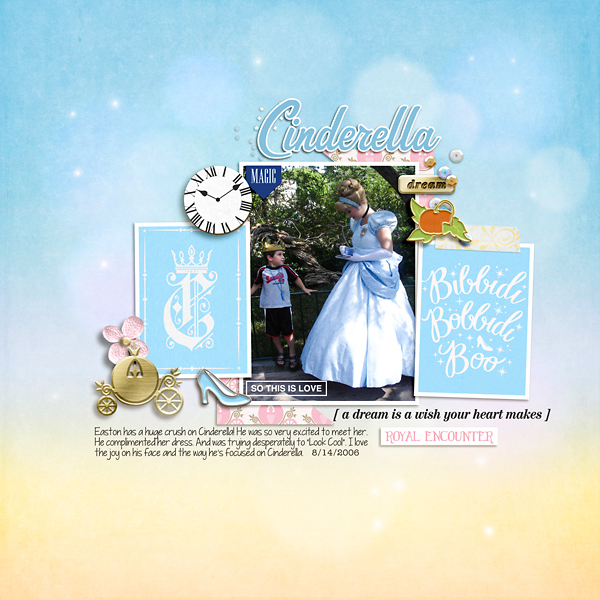Meeting Disney Cinderella Princess digital scrapbook layout using Project Mouse (Princess) Cinderella | Kit & Journal Cards by Britt-ish Designs and Sahlin Studio