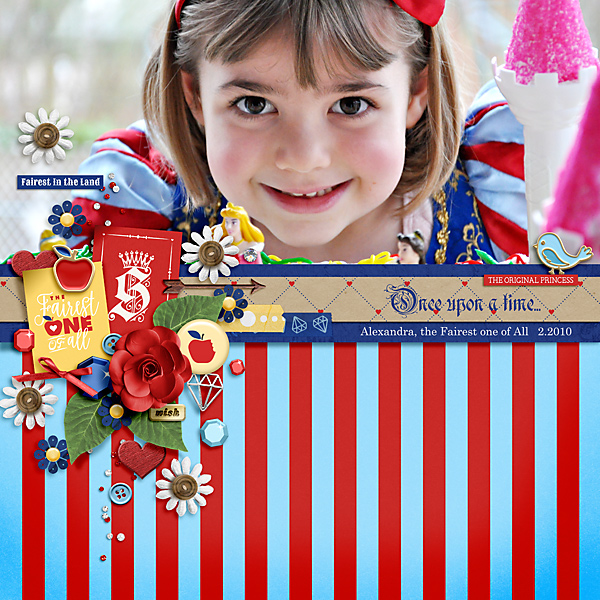 Disney Snow White Costume Princess digital scrapbook layout using Project Mouse (Princess) Snow White | Kit & Journal Cards by Britt-ish Designs and Sahlin Studio