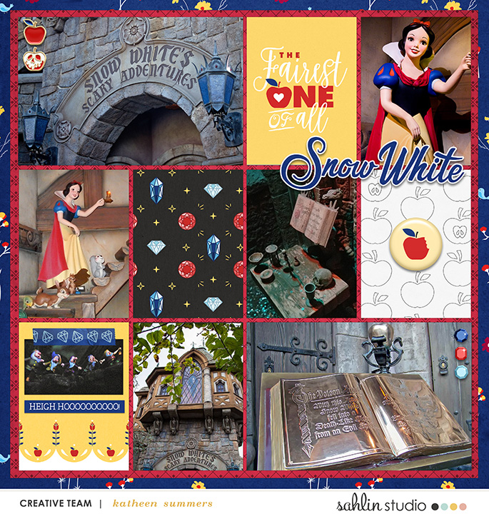 Disney Snow White Scary Adventure Ride Princess digital Project Life scrapbook layout using Project Mouse (Princess) Snow White | Kit & Journal Cards by Britt-ish Designs and Sahlin Studio