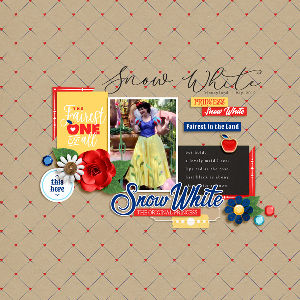 Fairest One of All Meeting Disney Snow White Princess digital scrapbook layout using Project Mouse (Princess) Snow White | Journal Cards by Britt-ish Designs and Sahlin Studio
