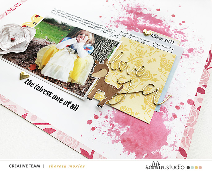 Disney Snow White Costume Princess scrapbook layout using Project Mouse (Princess) Snow White | Kit & Journal Cards by Britt-ish Designs and Sahlin Studio