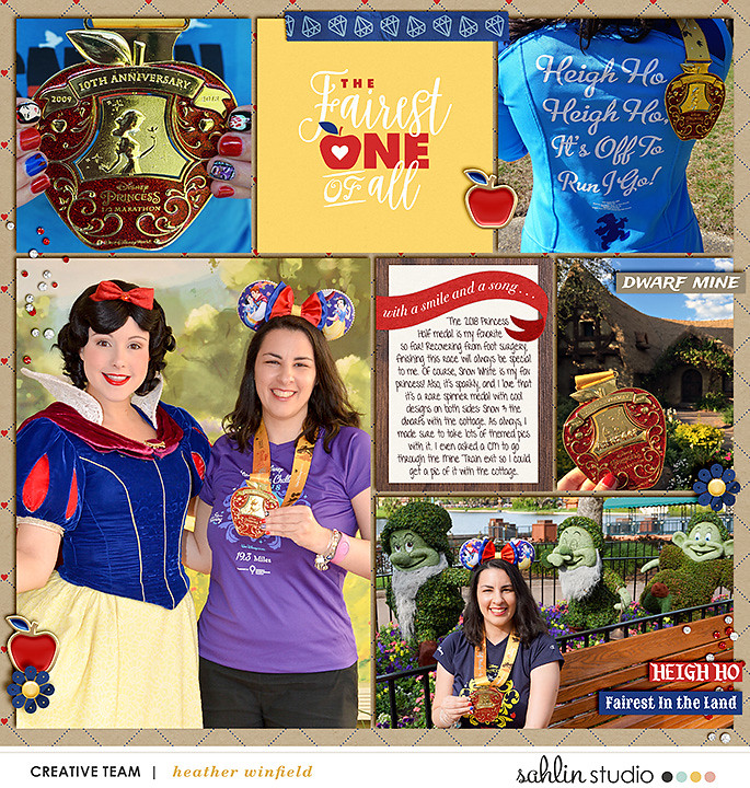 Meeting Disney Snow White Princess digital Project Life scrapbook layout using Project Mouse (Princess) Snow White | Kit & Journal Cards by Britt-ish Designs and Sahlin Studio
