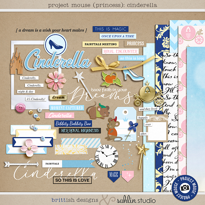 Project Mouse (Princess) Cinderella | Kit by Britt-ish Designs and Sahlin Studio - Perfect for documenting Cinderella or castle or other magical moments in your Project Life / Project Mouse album!!