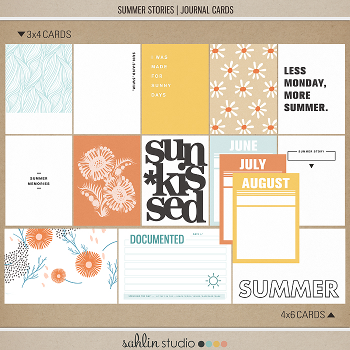 Summer Stories | Journal Cards by Sahlin Studio - Perfect for all of your summer, swimming, beach, pool scrapbooking or Project Life layouts.