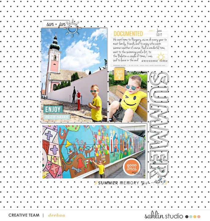 Summer Documented Blue Skies digital scrapbook layout using Summer Stories | Kit by Sahlin Studio