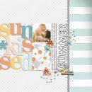 Summer Documented digital scrapbook layout using Summer Stories   Kit by Sahlin Studio