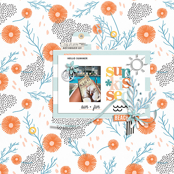 Summer SUNKISSED Documented digital scrapbook layout using Summer Stories | Kit by Sahlin Studio