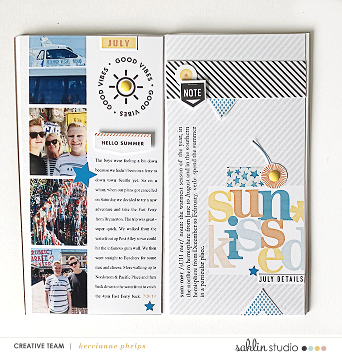 Summer Documented SUNKISSED digital scrapbook layout using Summer Stories | Kit by Sahlin Studio