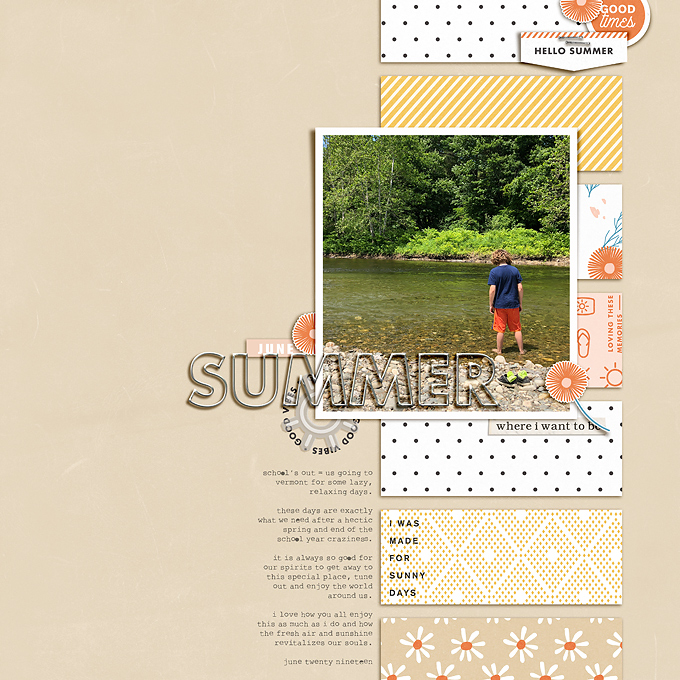 Summer Documented digital scrapbook layout using Summer Stories | Kit by Sahlin Studio