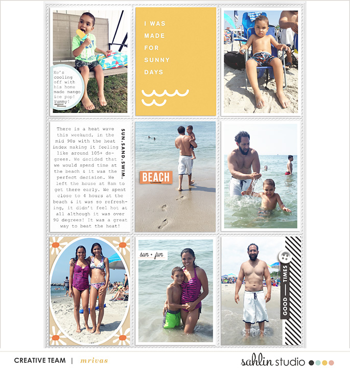 Summer Documented SUNKISSED digital Project Life scrapbook layout using Summer Stories | Kit by Sahlin Studio