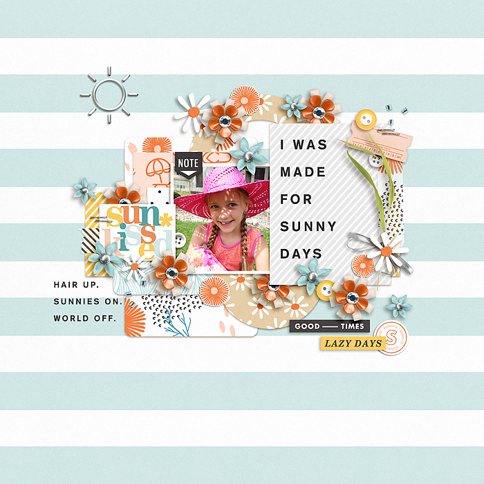 "Summer ""I was made for sunny days"" digital scrapbook layout using Summer Stories 