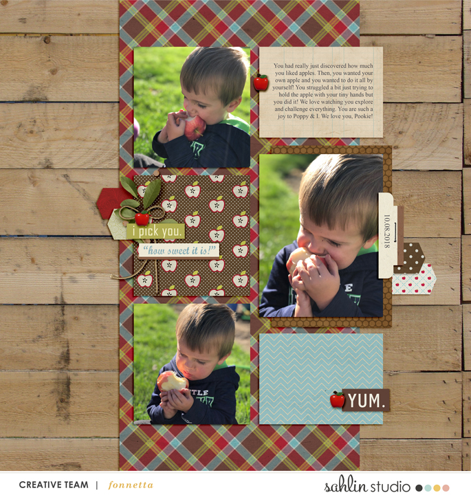 digital scrapbooking layout created by fonnetta featuring Apple Orchard by Sahlin Studio