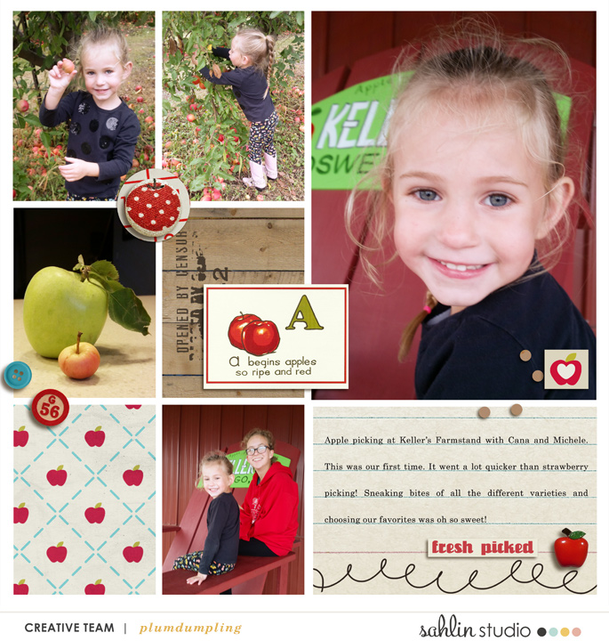 digital scrapbooking layout created by plumdumpling featuring Apple Orchard by Sahlin Studio