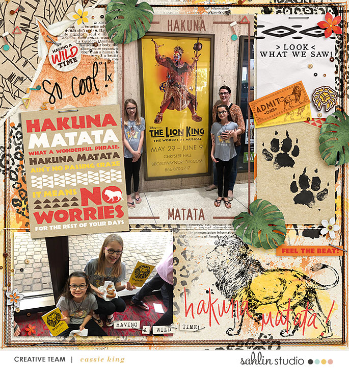 Disney Hakuna Matata Lion King digital scrapbook layout using Project Mouse (Animal) | Artsy & Pins by Britt-ish Designs and Sahlin Studio