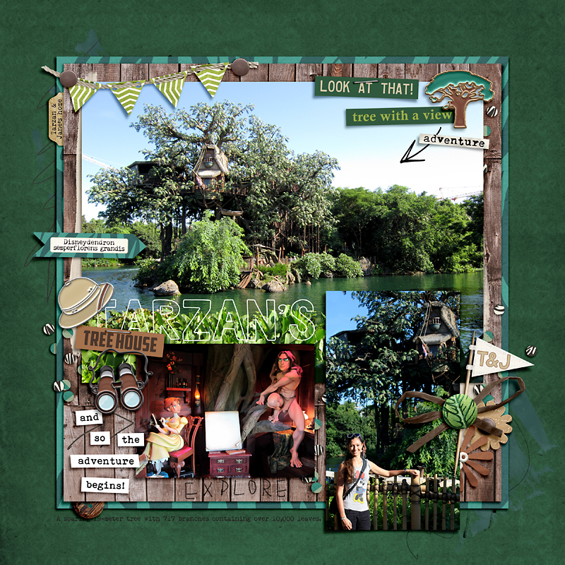 Disney Tarzans Treehouse digital scrapbook layout using Project Mouse (Animal) | Artsy & Pins by Britt-ish Designs and Sahlin Studio