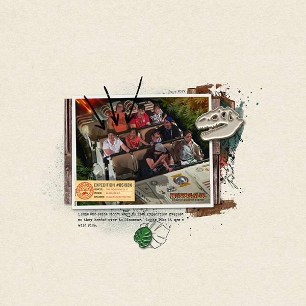 Disney Animal Kingdom Dinosaur digital scrapbook layout using Project Mouse (Animal) | Artsy & Pins by Britt-ish Designs and Sahlin Studio