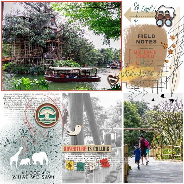 Disney Animal Kingdom Jungle digital scrapbook layout using Project Mouse (Animal) | Artsy & Pins by Britt-ish Designs and Sahlin Studio