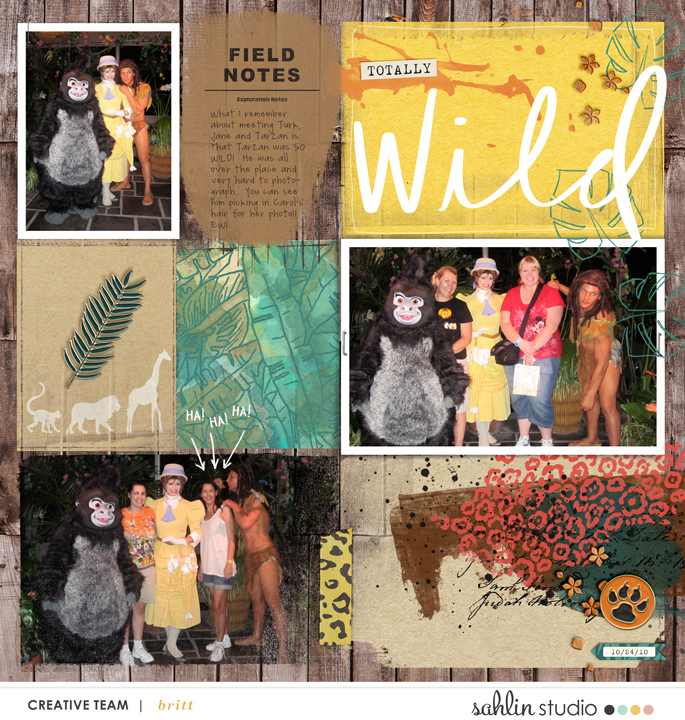 Disney Wild Tarzan Animal Kingdom digital scrapbook layout using Project Mouse (Animal) | Artsy & Pins by Britt-ish Designs and Sahlin Studio
