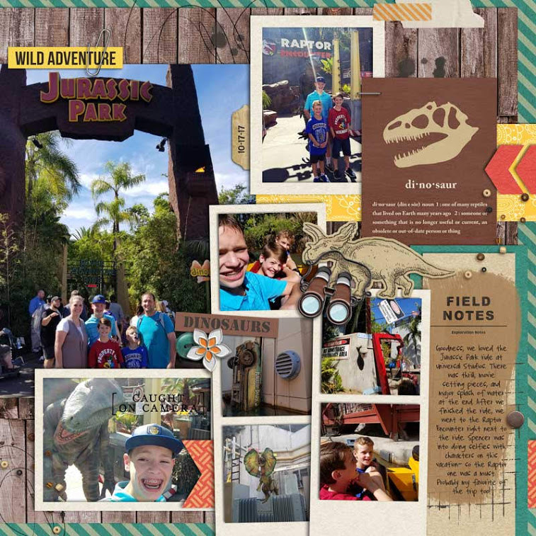 Universal Jurassic Park Disney Dinosaur digital scrapbook layout using Project Mouse (Animal) | Artsy & Pins by Britt-ish Designs and Sahlin Studio