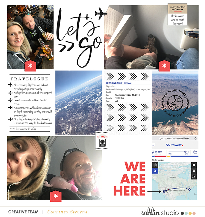 We Are Here digital Project Life scrapbook page layout using On Our Way - a travel collection by Sahlin Studio
