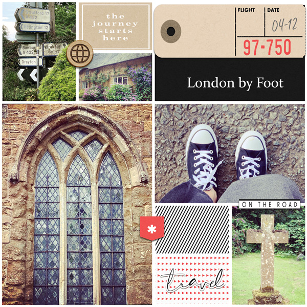 London by Foot digital Project Life scrapbook page layout using On Our Way - a travel collection by Sahlin Studio