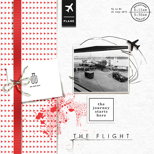 The Journey Starts Here - The Flight digital scrapbook page layout using On Our Way - a travel collection by Sahlin Studio
