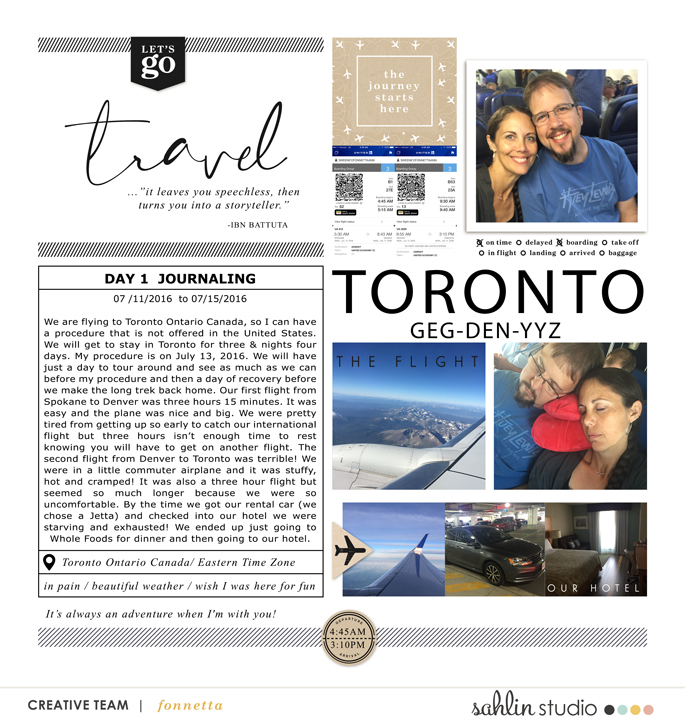 Let's Go TORONTO digital Project Life scrapbook page layout using On Our Way - a travel collection by Sahlin Studio