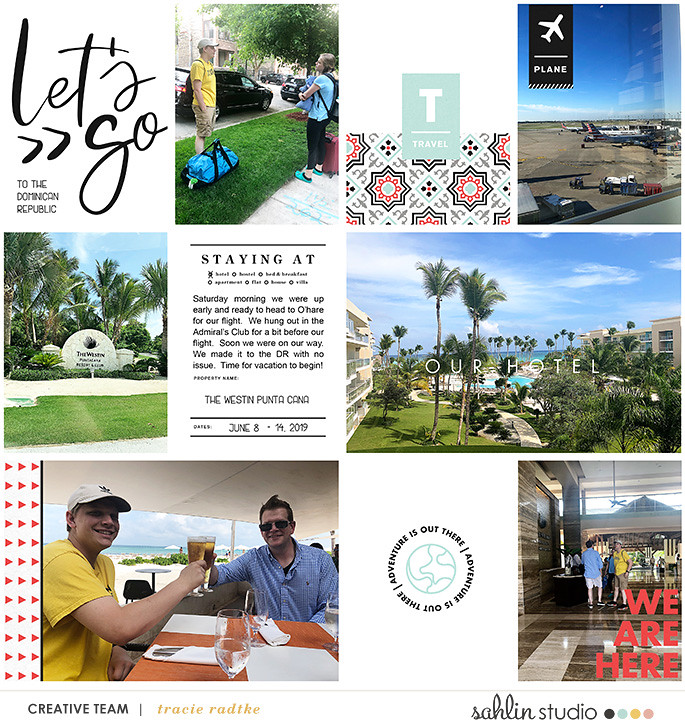Let's Go! digital Project Life scrapbook page layout using On Our Way - a travel collection by Sahlin Studio