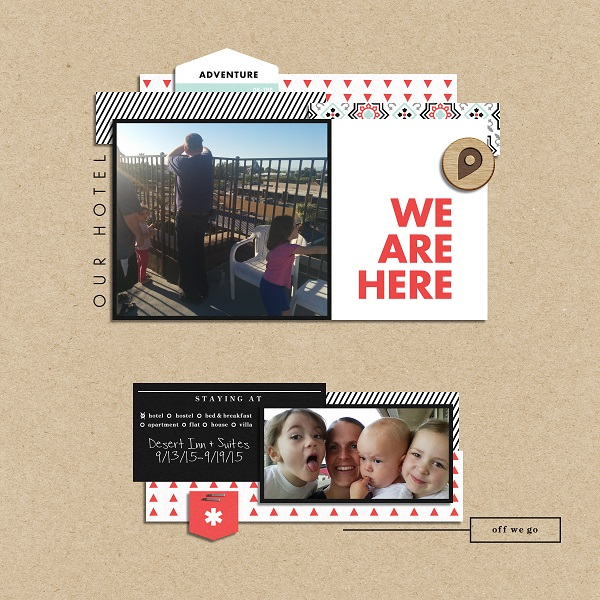 We Are Here digital scrapbook page layout using On Our Way - a travel collection by Sahlin Studio
