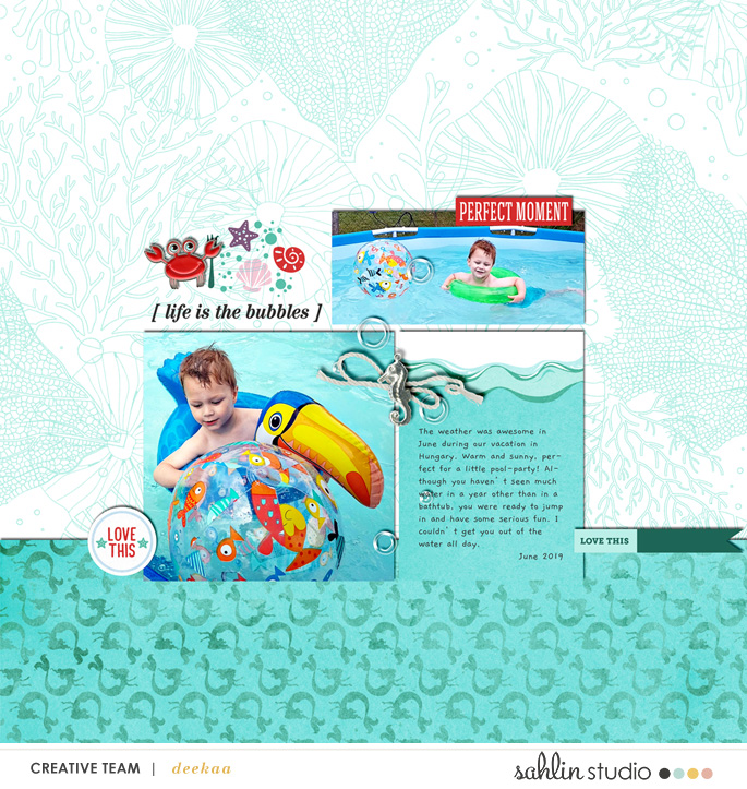 Little Swimmer digital scrapbook page layout using Project Mouse (Princess) Ariel | Kit & Journal Cards by Britt-ish Designs and Sahlin Studio