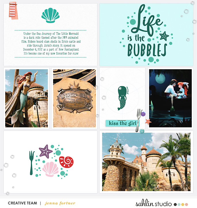 Life is the Bubbles Disney Princess Ariel Little Mermaid digital Project Life scrapbook layout using Project Mouse (Princess) Ariel | Kit & Journal Cards by Britt-ish Designs and Sahlin Studio