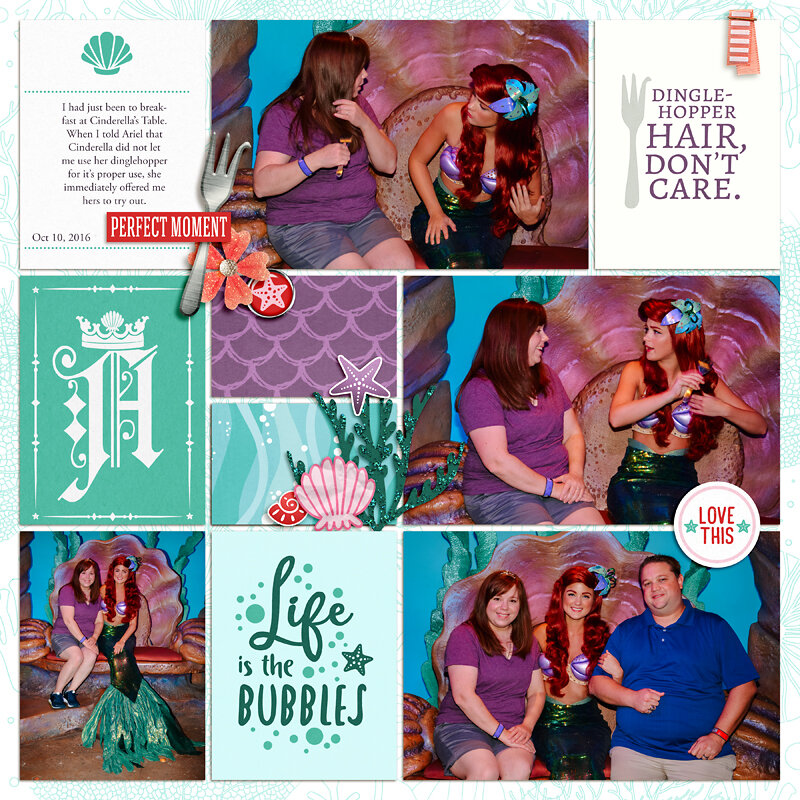 Meeting Disney Princess Ariel Little Mermaid digital Project Life scrapbook layout using Project Mouse (Princess) Ariel | Kit & Journal Cards by Britt-ish Designs and Sahlin Studio