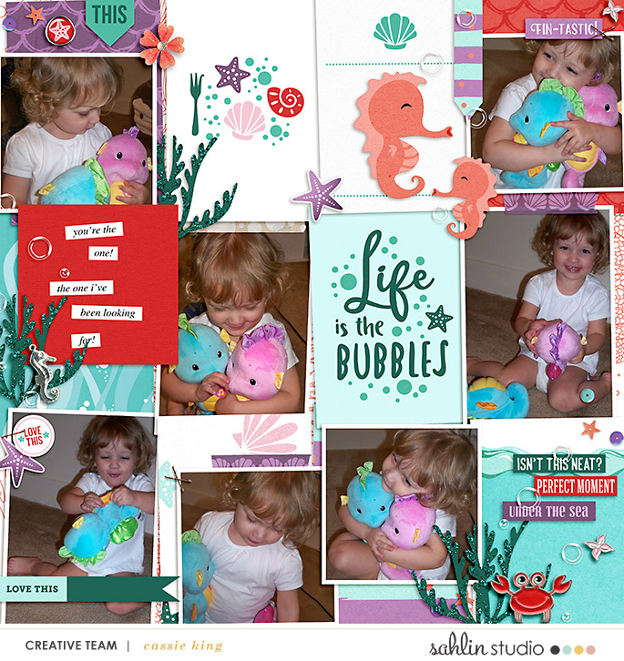 Life is the Bubbles Disney Ariel digital Project Life scrapbook layout using Project Mouse (Princess) Ariel | Kit & Journal Cards by Britt-ish Designs and Sahlin Studio