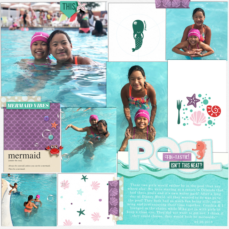 Day at the Pool Little Mermaid digital scrapbook page layout using Project Mouse (Princess) Ariel | Kit & Journal Cards by Britt-ish Designs and Sahlin Studio
