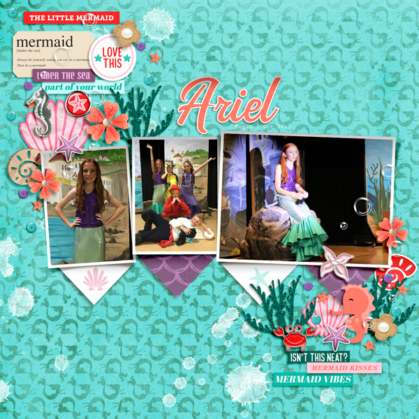Meeting Disney Princess Ariel Little Mermaid digital scrapbook page layout using Project Mouse (Princess) Ariel | Kit & Journal Cards by Britt-ish Designs and Sahlin Studio