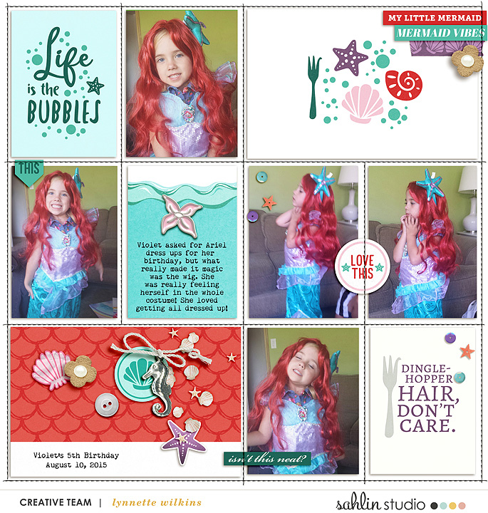 Life is the Bubbles Disney Ariel Little Mermaid digital Project Life scrapbook layout using Project Mouse (Princess) Ariel | Kit & Journal Cards by Britt-ish Designs and Sahlin Studio