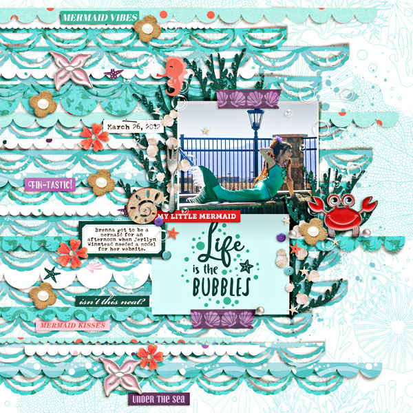 Little Mermaid Life is the Bubbles digital scrapbook page layout using Project Mouse (Princess) Ariel | Kit & Journal Cards by Britt-ish Designs and Sahlin Studio
