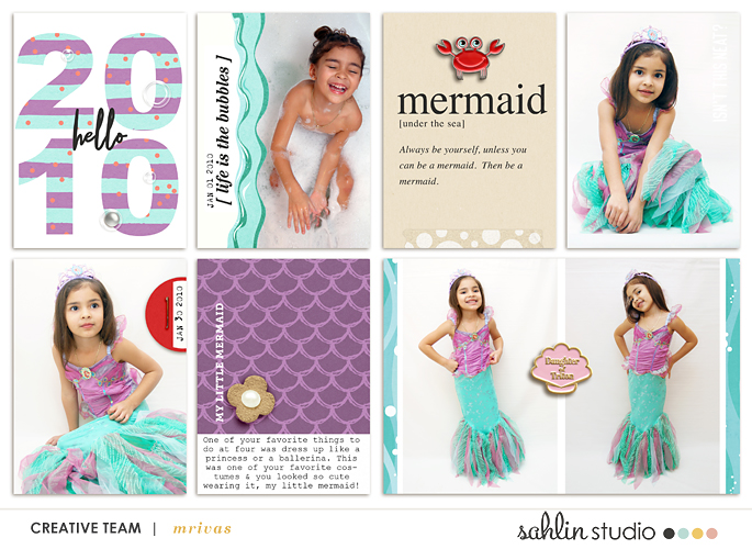 Princess Ariel Little Mermaid digital Project Life scrapbook layout using Project Mouse (Princess) Ariel | Kit & Journal Cards by Britt-ish Designs and Sahlin Studio