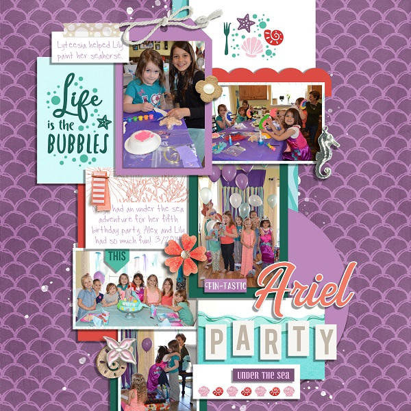 Ariel Party Little Mermaid Life is the Bubbles digital scrapbook page layout using Project Mouse (Princess) Ariel | Kit & Journal Cards by Britt-ish Designs and Sahlin Studio