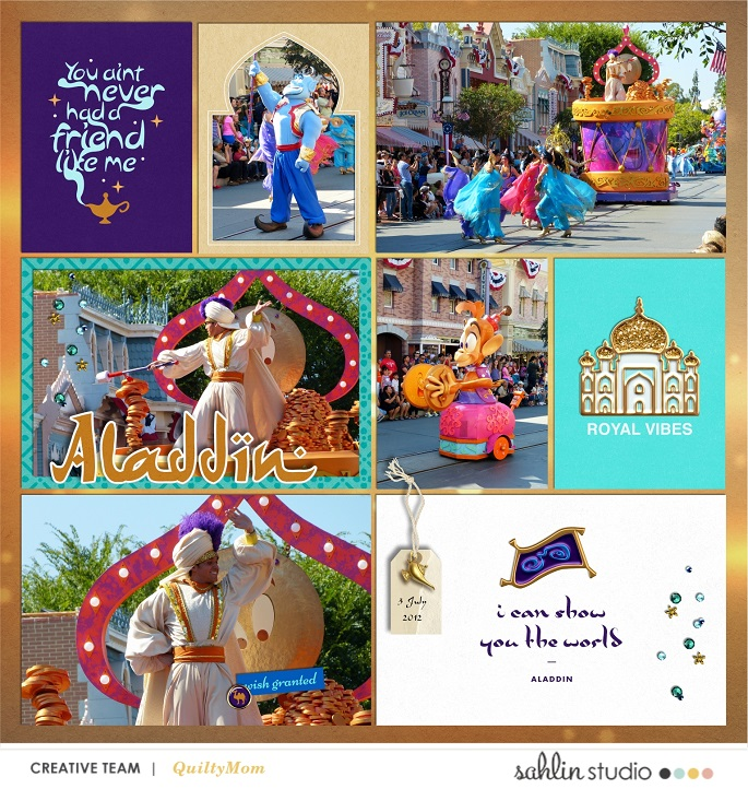 Disney Parade Aladdin Princess Jasmine digital Project Life scrapbook layout using Project Mouse (Princess) Jasmine | Kit & Journal Cards by Britt-ish Designs and Sahlin Studio