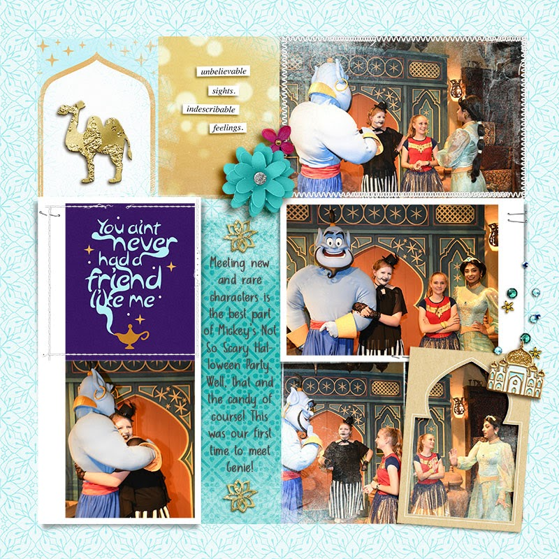 Meeting Disney Princess Jasmine, Aladdin + Genie digital Project Life scrapbook layout using Project Mouse (Princess) Jasmine | Kit & Journal Cards by Britt-ish Designs and Sahlin Studio