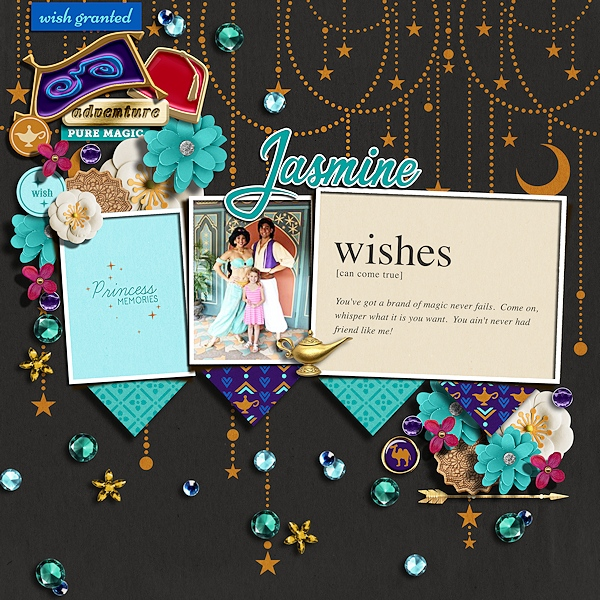 Meeting Disney Princess Jasmine + Aladdin digital scrapbook page layout using Project Mouse (Princess) Jasmine | Kit & Journal Cards by Britt-ish Designs and Sahlin Studio