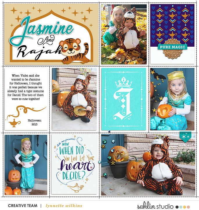 Costumes Disney Princess Jasmine + Rajah Halloween digital Project Life scrapbook layout using Project Mouse (Princess) Jasmine | Kit & Journal Cards by Britt-ish Designs and Sahlin Studio